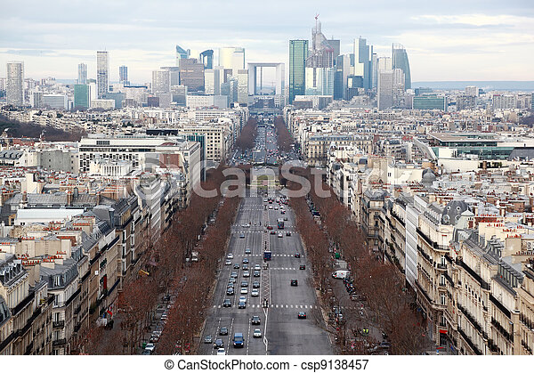view of La Defense business quarter, Grand Armagh avenue at winter in Paris, France - csp9138457