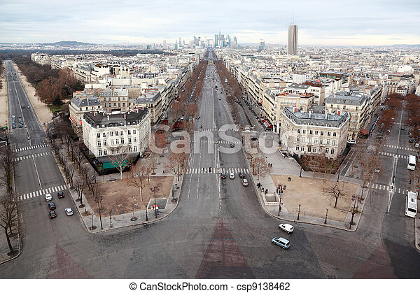 view of La Defense business quarter, Grand Armagh avenue in Paris, France - csp9138462