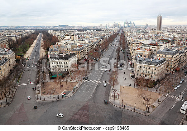 view from Arc de Triomphe on Bois de Boulogne and La Defense in Paris, France - csp9138465