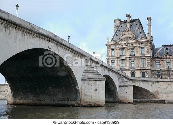Seine river, bridge Pont Royal and Louvre in Paris, France, lanterns on bridge - csp9138929