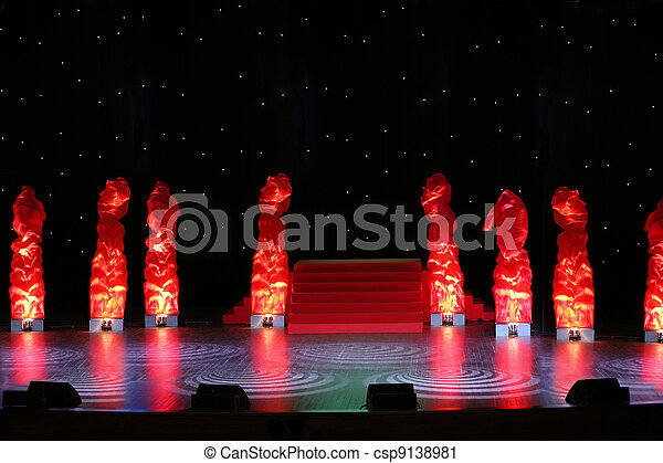 Large empty stage is designed  artificial fires and nightly sky - csp9138981