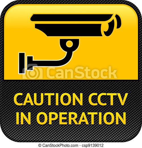 CCTV symbol, pictogram security camera - csp9139012