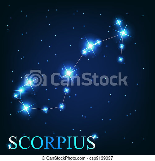 vector of the scorpius zodiac sign of the beautiful bright stars on the background of cosmic sky - csp9139037