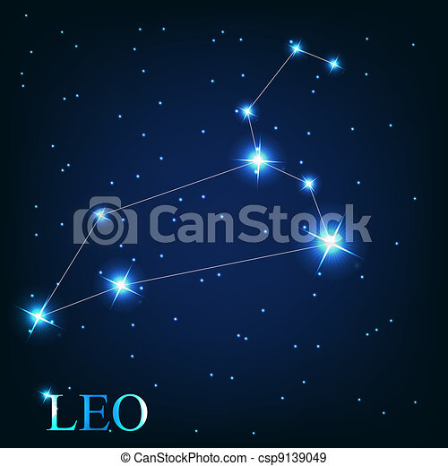 vector of the leo zodiac sign of the beautiful bright stars on the background of cosmic sky - csp9139049