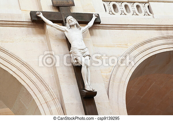 crucifixion of Christ hanging on pillar in temple, on head crown of thorns - csp9139295