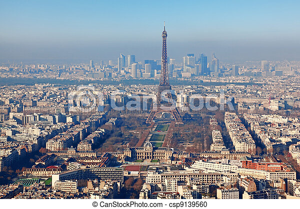 panorama of Paris with eiffel tower, la Defence at winter, France, horizontal - csp9139560