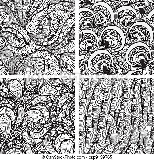 four vector seamless funky monochrome  patterns - csp9139765