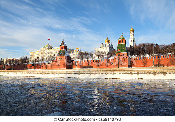 Red brick walls of famous Kremlin and Ivan Great Bell Tower at winter in Moscow, Russia - csp9140798