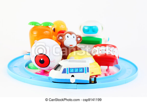 group of eight little bright clockwork toys on white background - csp9141199
