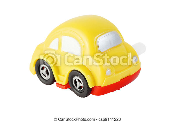 bright toy clockwork yellow automobile with silver windows on white background - csp9141220