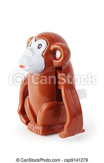 bright toy clockwork brown waggish monkey on white background - csp9141279