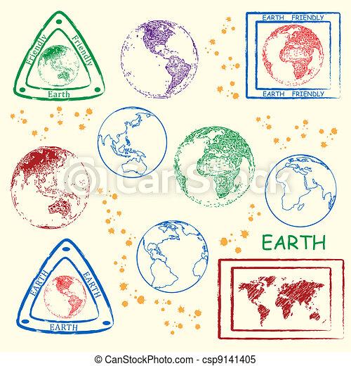 Earth Stamp Set - csp9141405