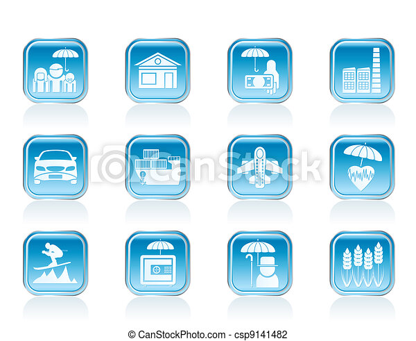 different kind of insurance icons - csp9141482