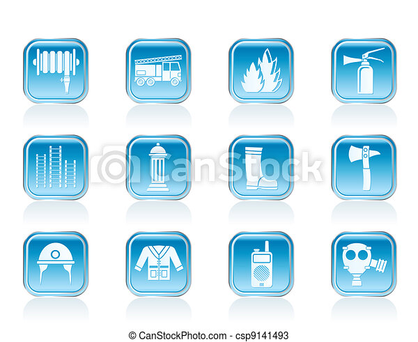 fire-brigade equipment icons - csp9141493