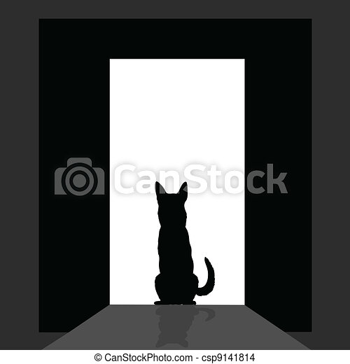 german shepard at the door silhouette - csp9141814