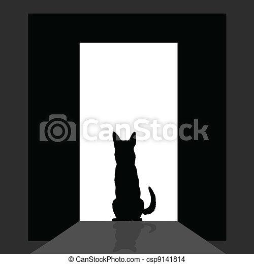 german shepard at the door silhouette - csp9141814