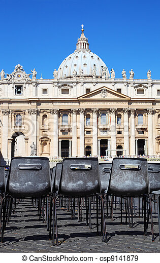 Vatican Museum in Basilica of St. Peter and  rows of gray chairs in Rome, Italy - csp9141879