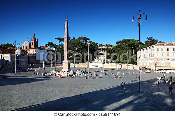 obelisk on Piazza del Popolo and water flow from an ancient aqueduct Aqua Vergine in Rome, Italy - csp9141891
