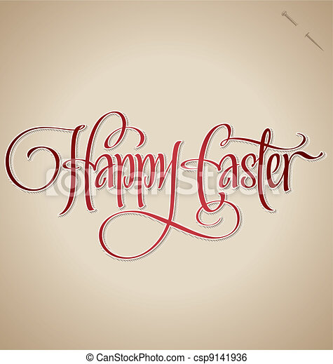 easter hand lettering (vector) - csp9141936