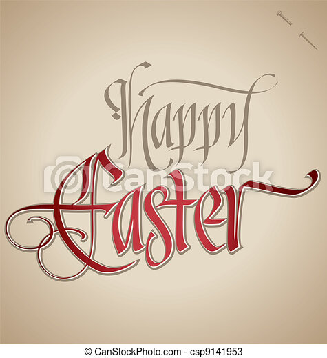 easter hand lettering (vector) - csp9141953