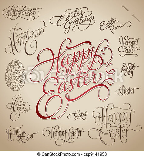 easter hand lettering set (vector) - csp9141958