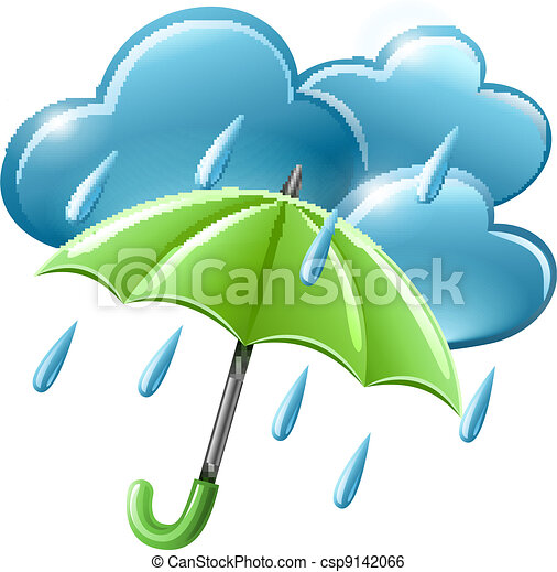 rainy weather icon with clouds and umbrella - csp9142066