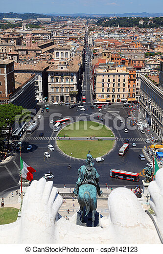 panorama of Rome from Altar of Fatherland in Rome, Italy. equestrian monument to Victor Emmanue II - csp9142123