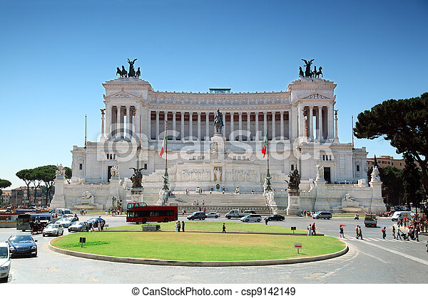 Equestrian monument to Victor Emmanuel II near Vittoriano at day in Rome, Italy - csp9142149