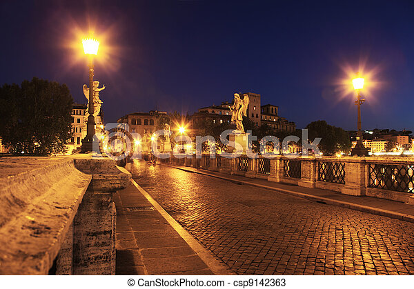 Sant' Angelo Bridge at night, beautiful old sculptures and lanterns - csp9142363