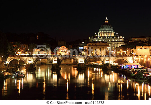 Sant' Angelo Bridge and Basilica of St. Peter at night in Rome, Italy - csp9142373