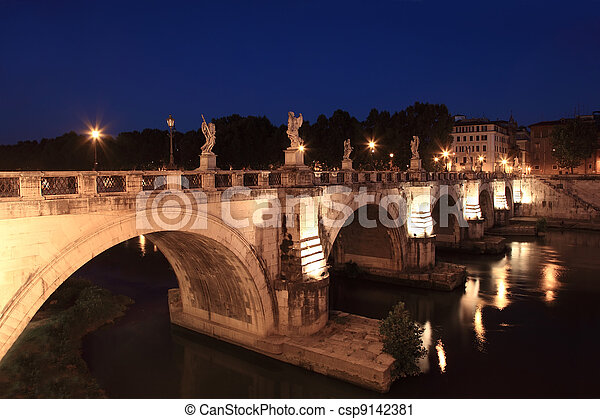 Sant' Angelo Bridge at night, beautiful old sculptures and lanterns - csp9142381