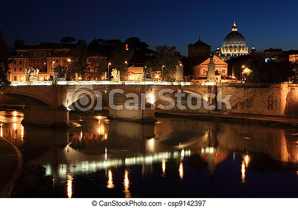 Ponte Vittorio Emanuele II at night in Rome, Italy. beautiful old sculptures and lanterns - csp9142397