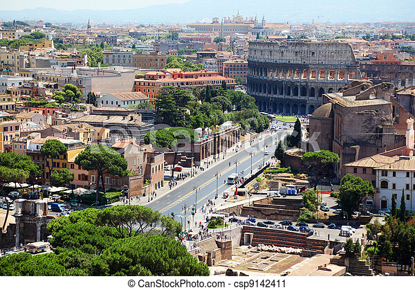 Color panoramic view Rome, Colosseum, catholic basilics and streets and houses, Italy - csp9142411