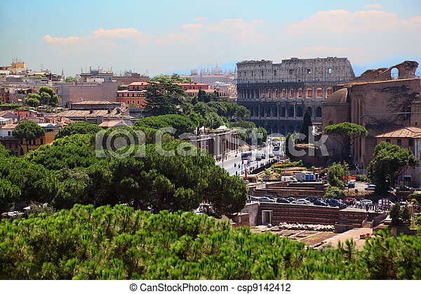 Color panoramic view Rome, Colosseum, catholic basilics and streets and houses, Italy - csp9142412