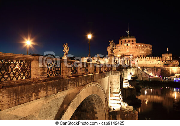 Sant' Angelo Bridge and Sant' Angelo Castel at night, beautiful old sculptures and lanterns - csp9142425