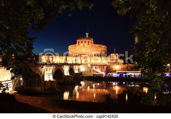 Sant' Angelo Bridge and Sant' Angelo Castel at night, beautiful old sculptures and lanterns - csp9142430