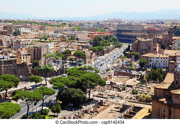Color panoramic view Rome, Colosseum, catholic basilics and streets and houses, Italy  - csp9142434