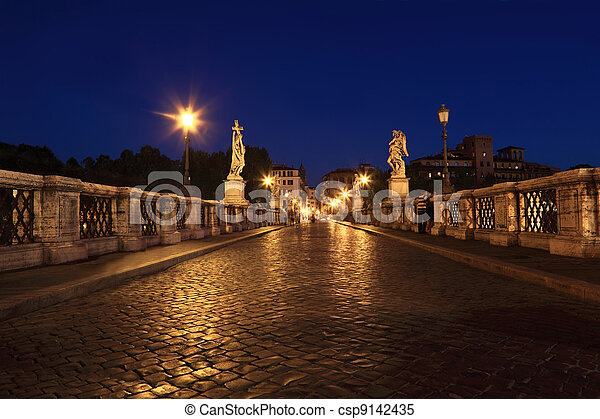 Sant' Angelo Bridge at night, beautiful old sculptures and lanterns - csp9142435