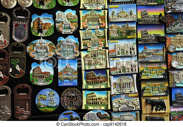 Few rows of magnet souvenirs from Rome: Colosseo, Piazza san Petro - csp9142618