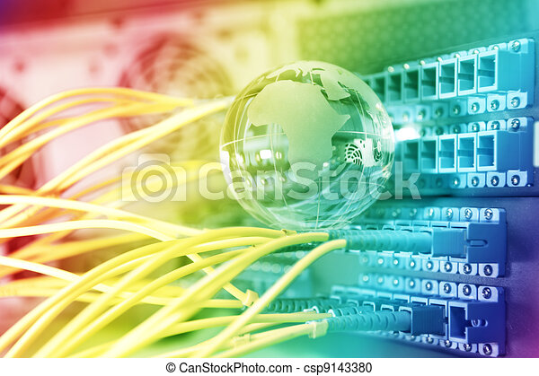 optic fiber cables connected to an optic switch 