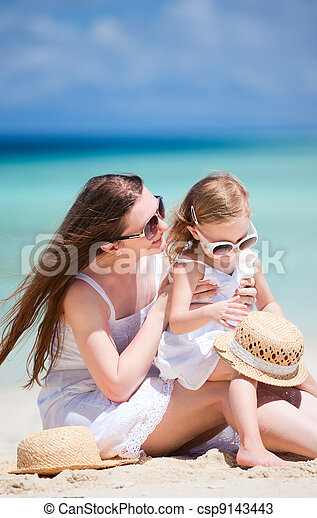 Mother and daughter at beach - csp9143443