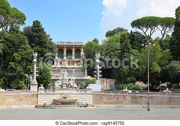 Piazza del Popolo, stage at which water flows from an ancient aqueduct Aqua Vergine - csp9143750