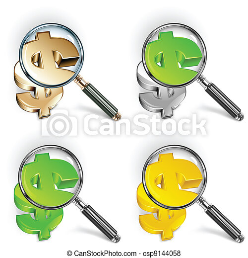 Magnifying glass & color dollar  - csp9144058
