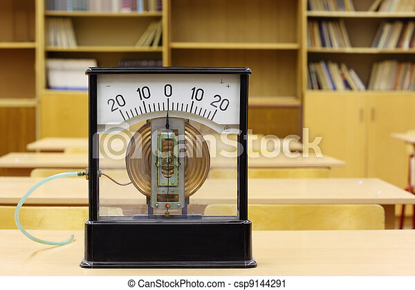 Old manometer of school for experiments in physics; empty school class - csp9144291