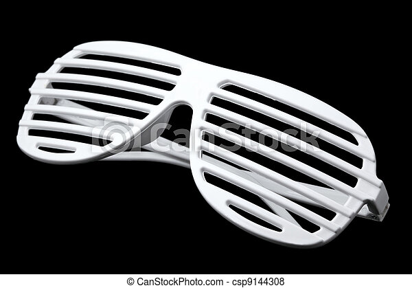 white striped plastic sunglasses isolated on black background - csp9144308