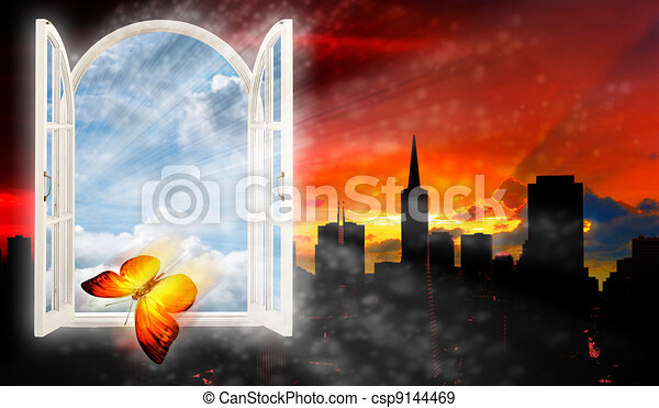 Escape from the city, abstract backgrounds with urban silhouette - csp9144469