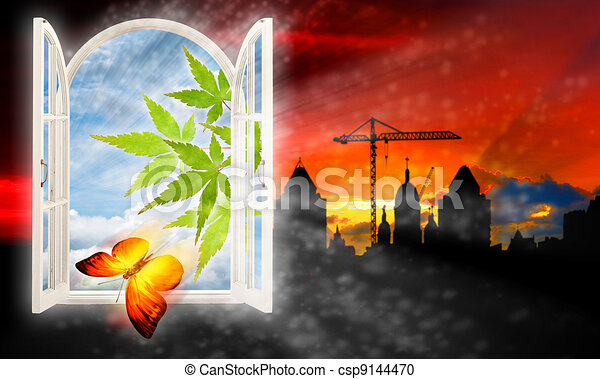 Escape from the city, abstract backgrounds with urban silhouette - csp9144470