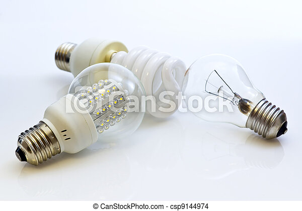 different types of bulbs E27 (Fluorescent, Wolfram, LEDs) - csp9144974