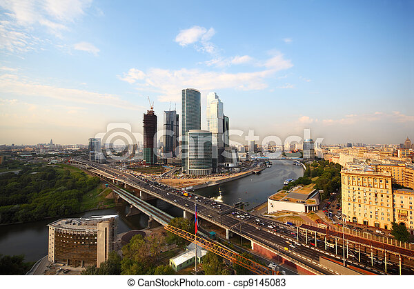 wide angle, Moscow river, Third Transport Ring, skyscrapers in Moscow, Russia