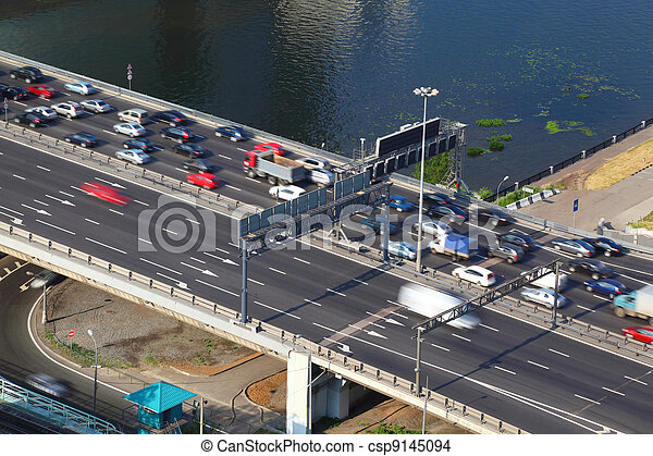 Dorogomilovskiy bridge on third transport ring in Moscow, Russia - csp9145094